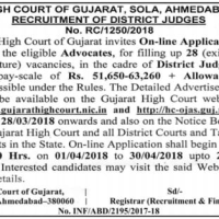 Gujarat High Court District Judges Recruitment 2018