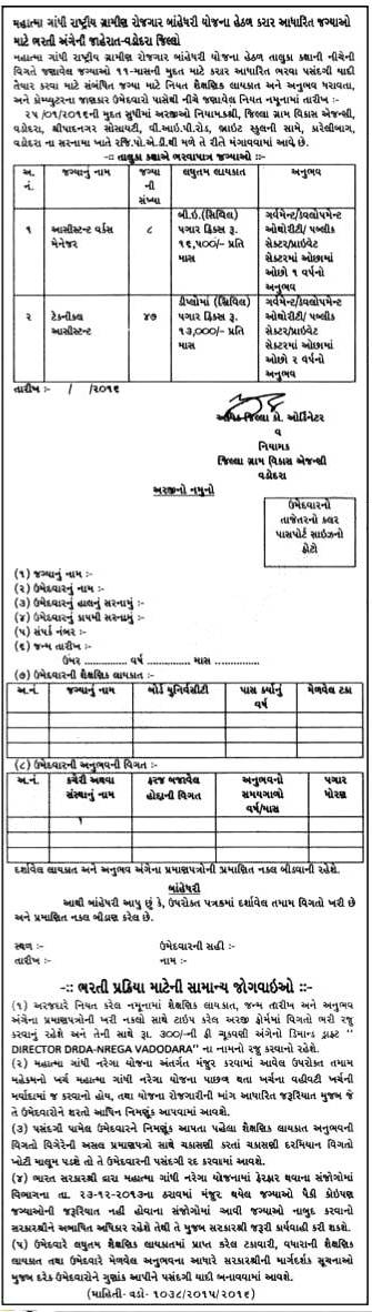 MGNREGA Vadodara Recruitment 2016 for Various Post