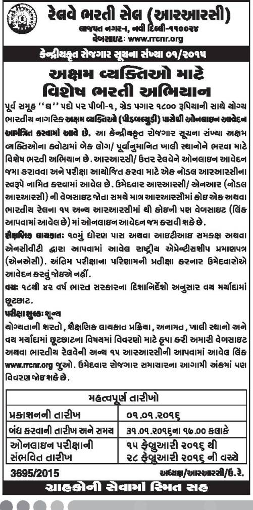 RRCNR Special Recruitment 2016