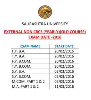 Saurashtra University Exam Time Table 2016