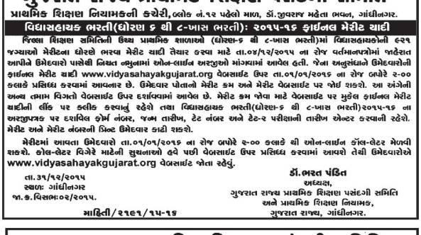 Vidhyasahayak Special Bharti Merit List
