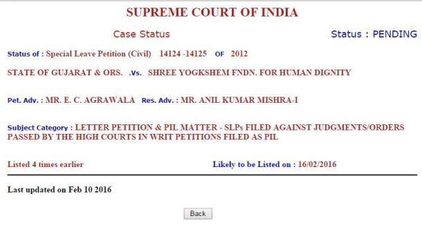 Supreme Fix Pay Case Next Date 16-02-2016