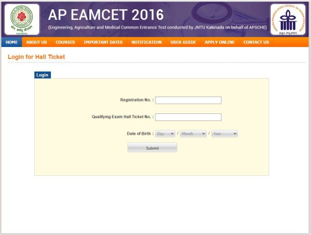 AP EAMCET Hall Ticket 2016 Download
