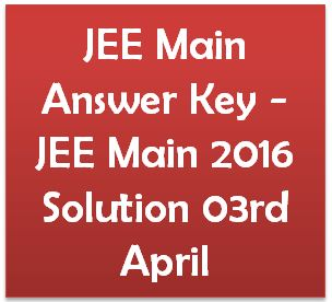 JEE Main Answer Key 2016