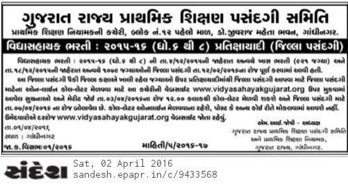 Vidhyasahyak Bharti 6 to 8 Waiting Round 2015-2016