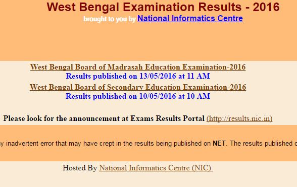 WBCHSE 12th Result 2016