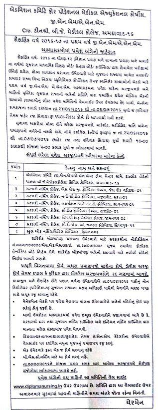 Gujarat GNM ANM Admission 2016
