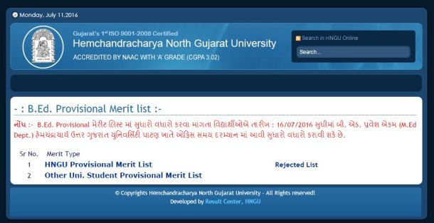 HNGU B.Ed Merit List 2016