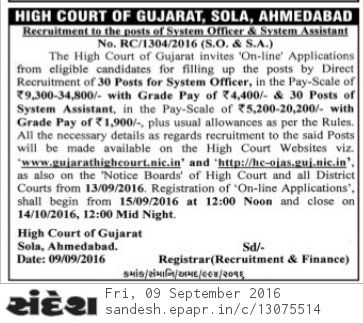 Gujarat High Court System Officer/Assistant Recruitment 2016