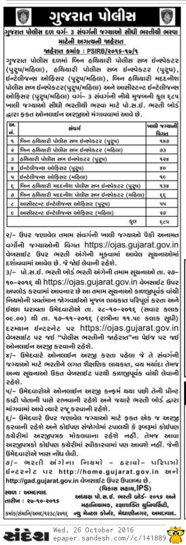Gujarat Police Recruitment 2016 for 685 PSI, ASI, AIO And IO