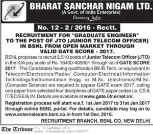bsnl jto recruitment 2016-2017