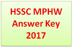 HSSC MPHW Answer Key 2017