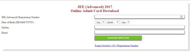 JEE Advanced 2017 Admit Card