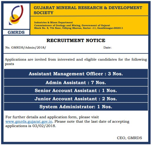 GMRDS Gujarat Recruitment 2018