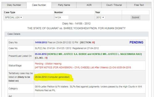 fix pay case next date