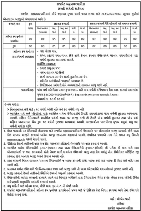 Rajkot Municipal Corporation Recruitment