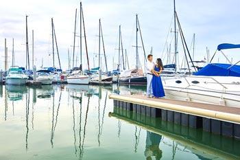 Photo de mariage dans un port