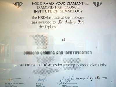 certifikat diamantgradering