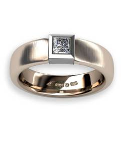 sidenmatt ring 18 k guld med diamant