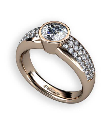 pavé infattade diamanter i rött guld
