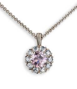 hängsmycke i 18 k rött guld med rosa spinell och diamanter