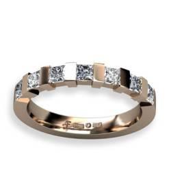 3 mm alliansring i rött guld med prinsess slipade diamanter