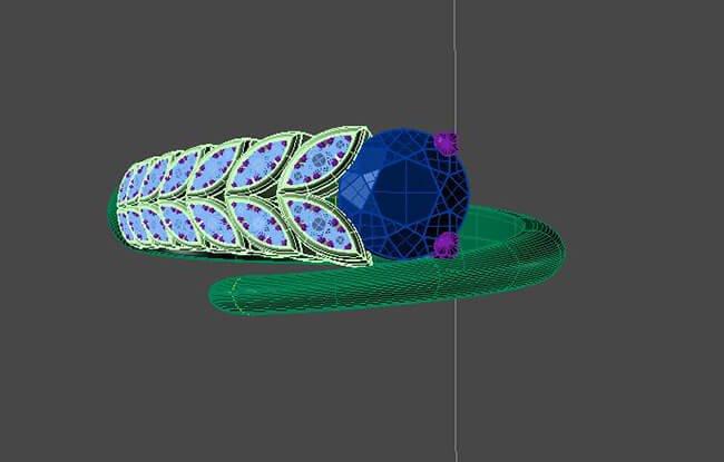 skissa av designad ring