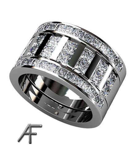 2 alliansringar samt bred ring i mitten med prinsess slipade diamanter