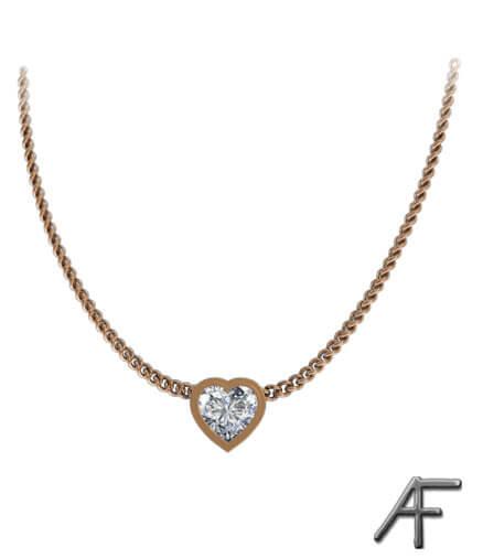 diamanthjärta i 18 k rött guld
