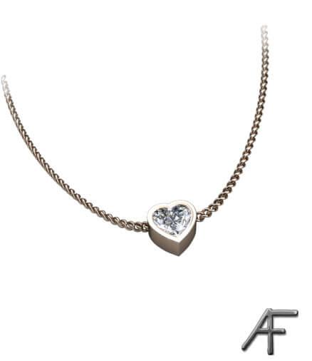 hängsmycke med hjärtslipad diamant