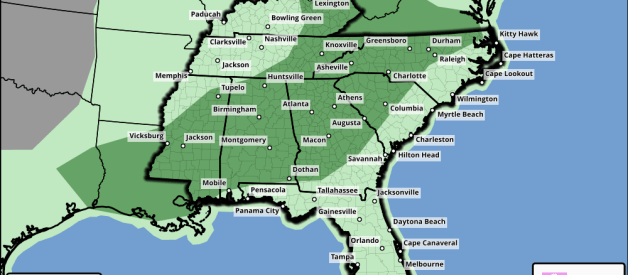 Some Strong/Severe Storms Possible from Southeast TX into AL Today
