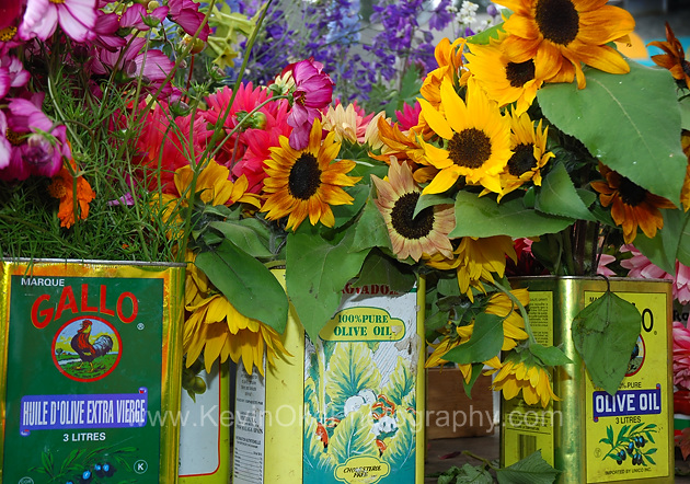 Flowers for sale at the Salt Spring Island Saturday Market located in Ganges, Salt Spring Island.