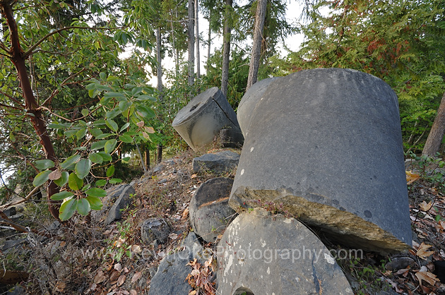 Mill stones at an old quarry on Gabriola Island, British Columbia