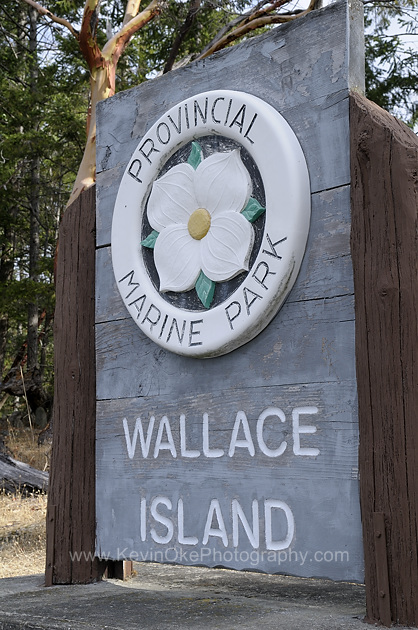 Wallace Island Marine Park sign, Princess Bay, Wallace Island, Gulf Islands, British Columbia