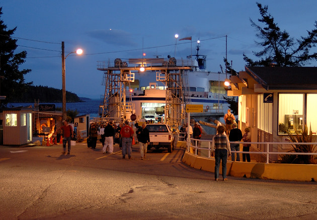 Crowds at the Otter Bay ferry terminal, Pender Island, British Columbia