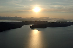 The view towards North and South Pender Island from Saturna Island, British Columbia