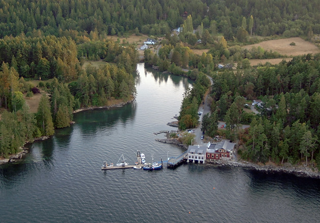 Aerial photograph of Hope Bay. North Pender Island