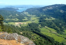 The view from Mount Maxwell looking south down the Fulford Valley, Salt Spring Island, British Columbia