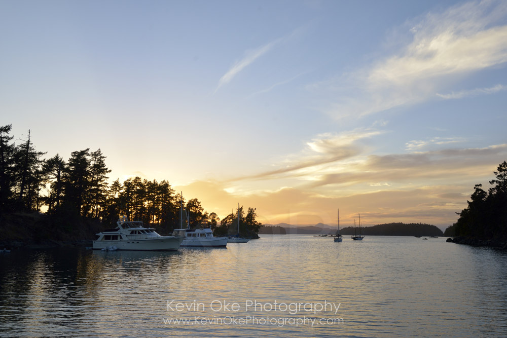 Sunset at the anchorage in Princess Bay, Wallace Island