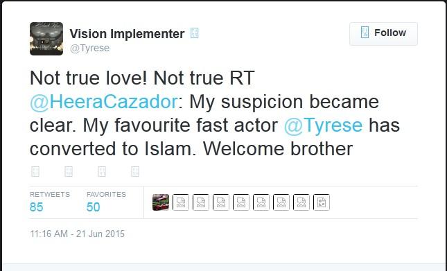 Tyrese Gibson Agama Islam