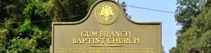 Gum Branch Baptist Church - Historical Site Marker