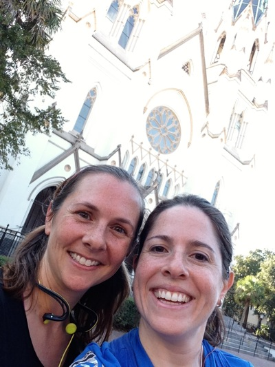 Like tourists, posing in front of the Cathedral
