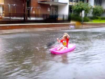 Kayaking Down the Street