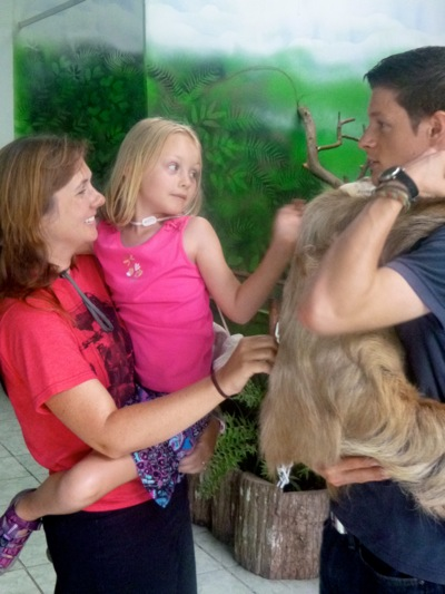 Petting Millie the Sloth