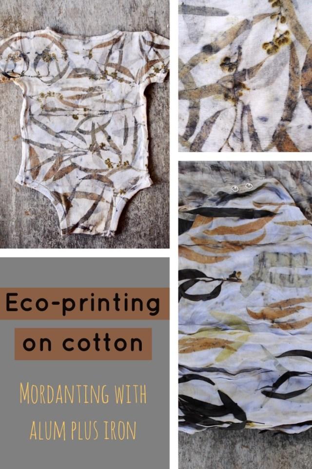 Combining alum and iron mordants to eco-print on cotton