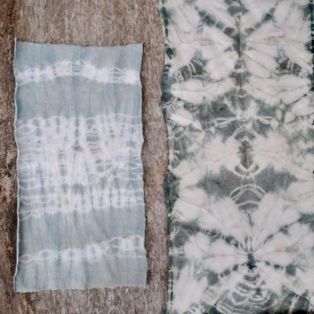 Australian Indigo shibori dyeing samples