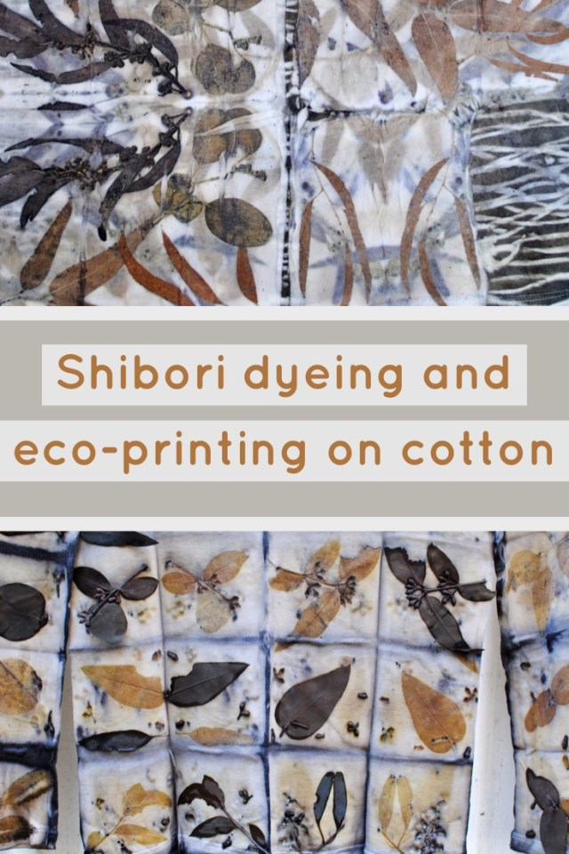 Examples of cotton clothing naturally dyed with 2 different techniques: shibori and eco-printing