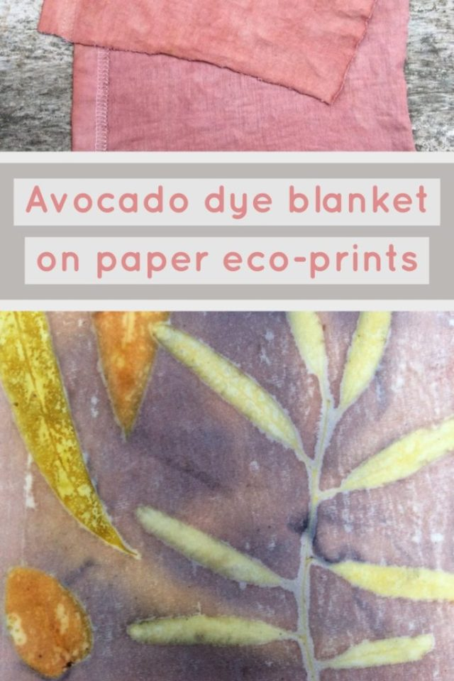Use avocado dyed fabric as a dye blanket when eco-printing on paper