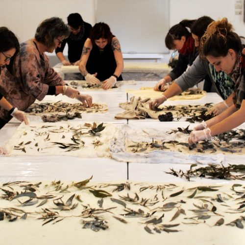 Eco-printing on cotton workshop: participants placing their leaves on their fabric