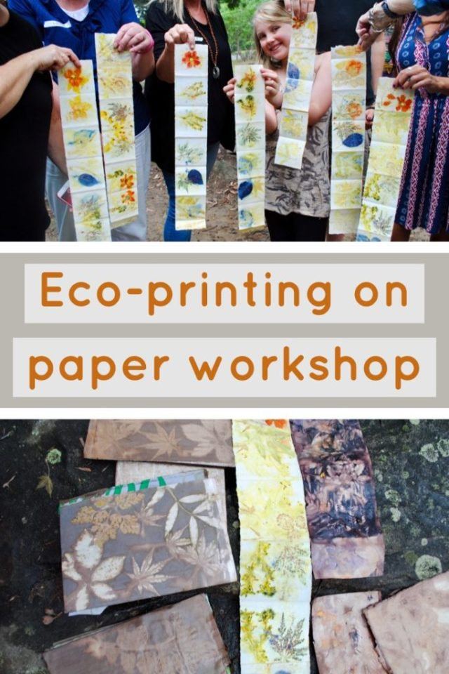 Learn to eco-print on paper with Gumnut Magic